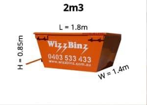 2m3 skip bin dimensions