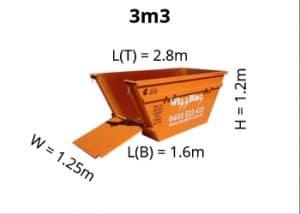 3m3 skip bin dimensions