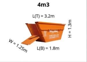 4m3 skip bin dimensions