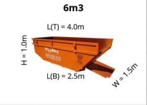6m3 skip bin dimensions