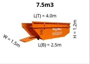 7-5m3 skip bin dimensions