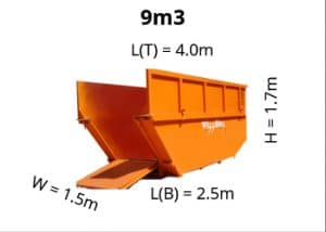 9m3 skip bin dimensions